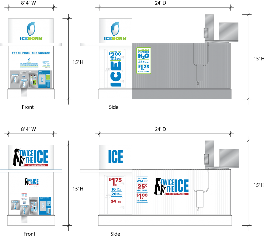 The dimensions and size of the ice house, the best-in-class ice vending model from Ice House America