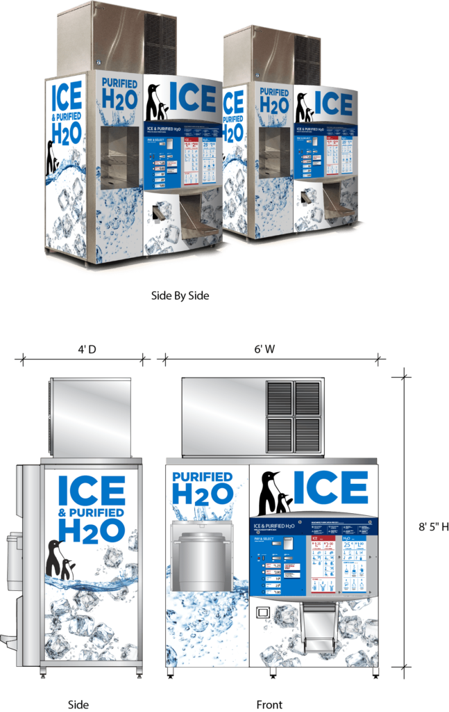 The size of our smallest ice and water vending machine, the Ice Merchant